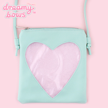 Small Shoulder Bag with Glitter Heart Pocket - Mint