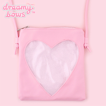 Small Shoulder Bag with Glitter Heart Pocket - Pink