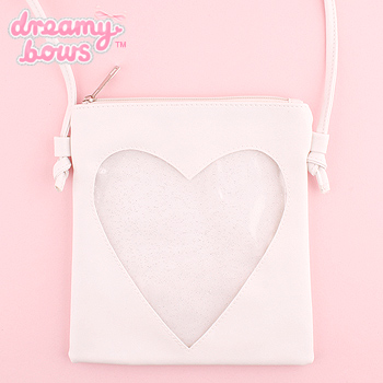 Small Shoulder Bag with Glitter Heart Pocket - White