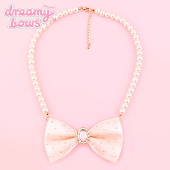 Crystal Ribbon Pearl Necklace