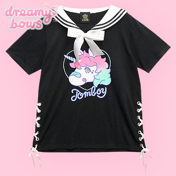 Tomboy Unicorn Lace Up Sailor Collar Cutsew - Black