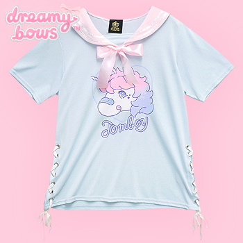 Tomboy Unicorn Lace Up Sailor Collar Cutsew - Blue