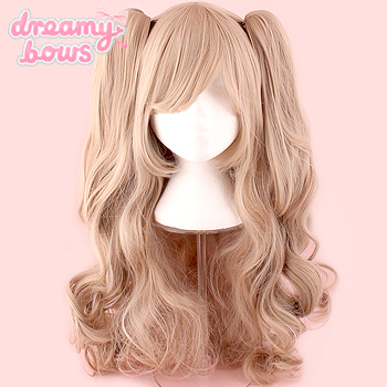 Long Curly Twin Tails Wig - Milk Tea Blonde