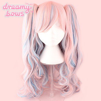 Long Curly Twin Tails Wig - Blue x Pink Blend