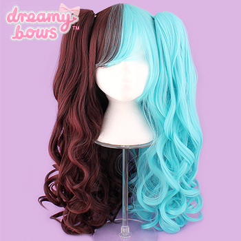 Long Curly Twin Tails Wig - Brown x Mint Split
