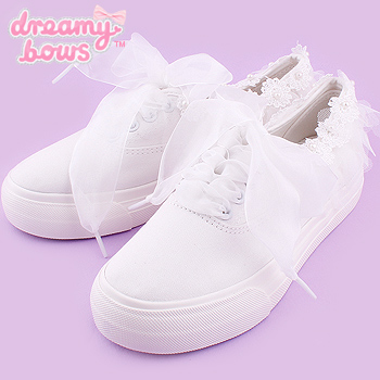 Flower Lace Thick Sole Sneaker Shoes - White