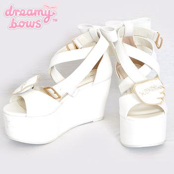 Wings Strap Platform Shoes - White
