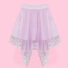 Tulle Skirt with Irregular Lace Overlay - Lav