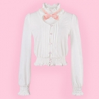 White High Necked Blouse with Front Cutout & Bow