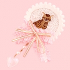 Cat Brooch Style with Dangly Heart Clip