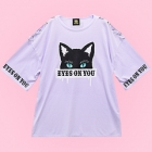 Cat Eyes on You Sleeve Ring Detail Cutsew - Lav
