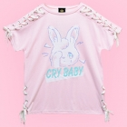 Cry Baby Rabbit Lace-Up Cutsew - Pink