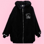 Destroy Bear Fluffy Hooded Jacket - Black