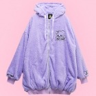 Destroy Bear Fluffy Hooded Jacket - Lav
