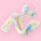 Eco Fur Fluffy Earmuff & Scarf Set - Light Pastels