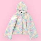 Eco Fur Fluffy Hooded Coat - Light Pastels