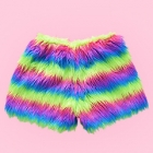 Eco Fur Fluffy Shorts - Bright Rainbow