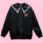 Guilty Heart Bat Sailor Collar Jacket - Black