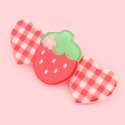 Kawaii Glitter Strawberry & Gingham Hearts Clip