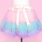 Frilly Tiered Skirt - Cream x Pink x Mint