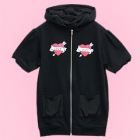 Love Heart Short Sleeve Cat Ear Zipped Parka - Black