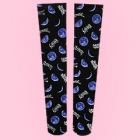 Metal Moon Phases Knee High Socks - Black x Blue