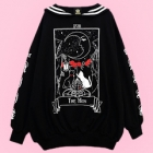 The Moon Tarot Cat Sailor Collar Dress - Black