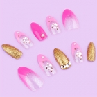 Pointy Glitter Gold & Bright Pink Deco False Nail Set
