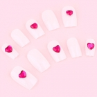 White with Single Pink Heart Gem False Nail Set