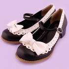 Scallop Trim Tea Party Shoes - Black x White